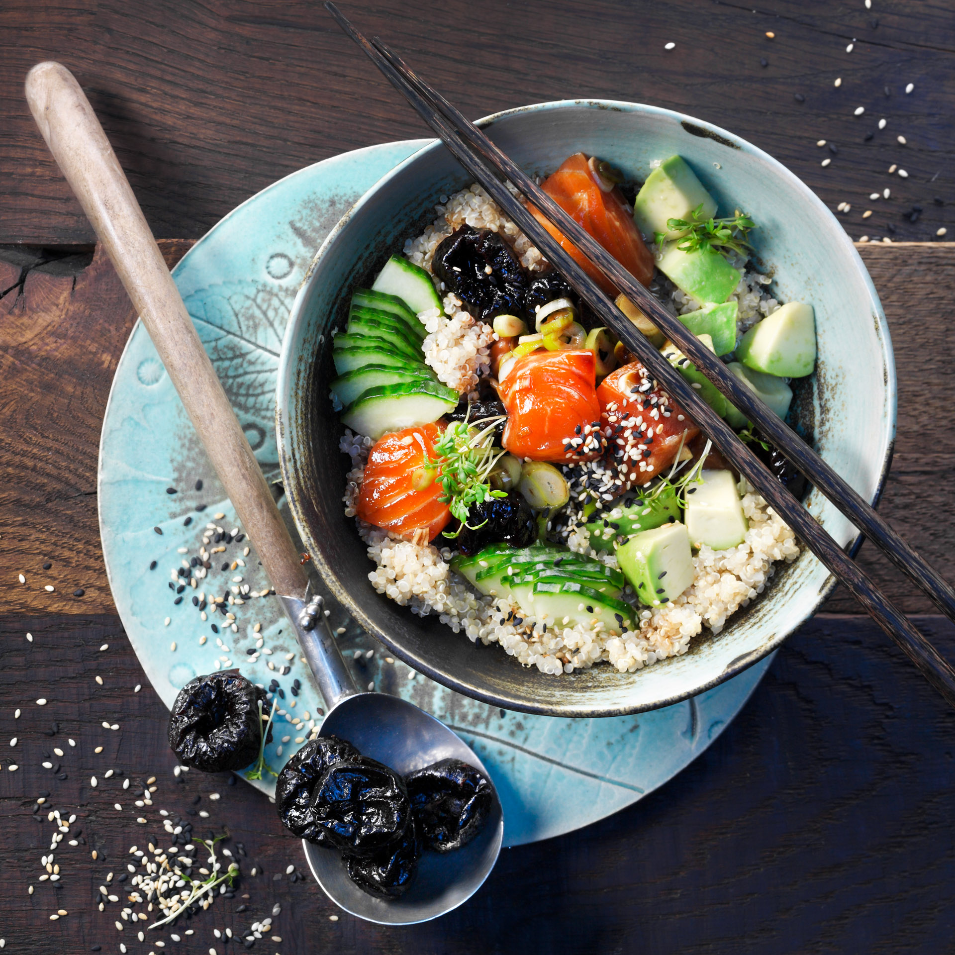 <p>In this Hawaiian poke bowl, the flavors of soy sauce and sesame come to life with bits of sweet prunes and peppery greens.</p>