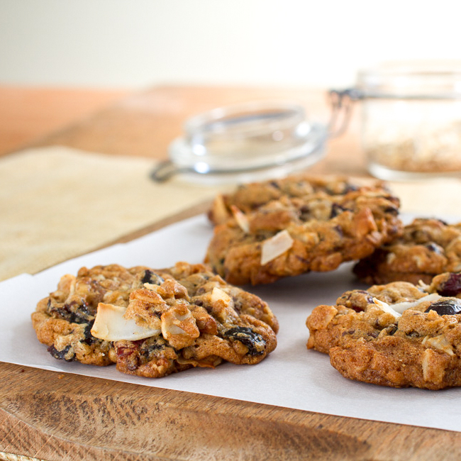 <p>Inspired by trail mix, these cookies offer enticing handfuls of dried fruit, nuts, chocolate, and coconut. Diced Dried Plums enhance the flavors of chocolate and cinnamon while giving each cookie a sweet, chewy texture.</p>