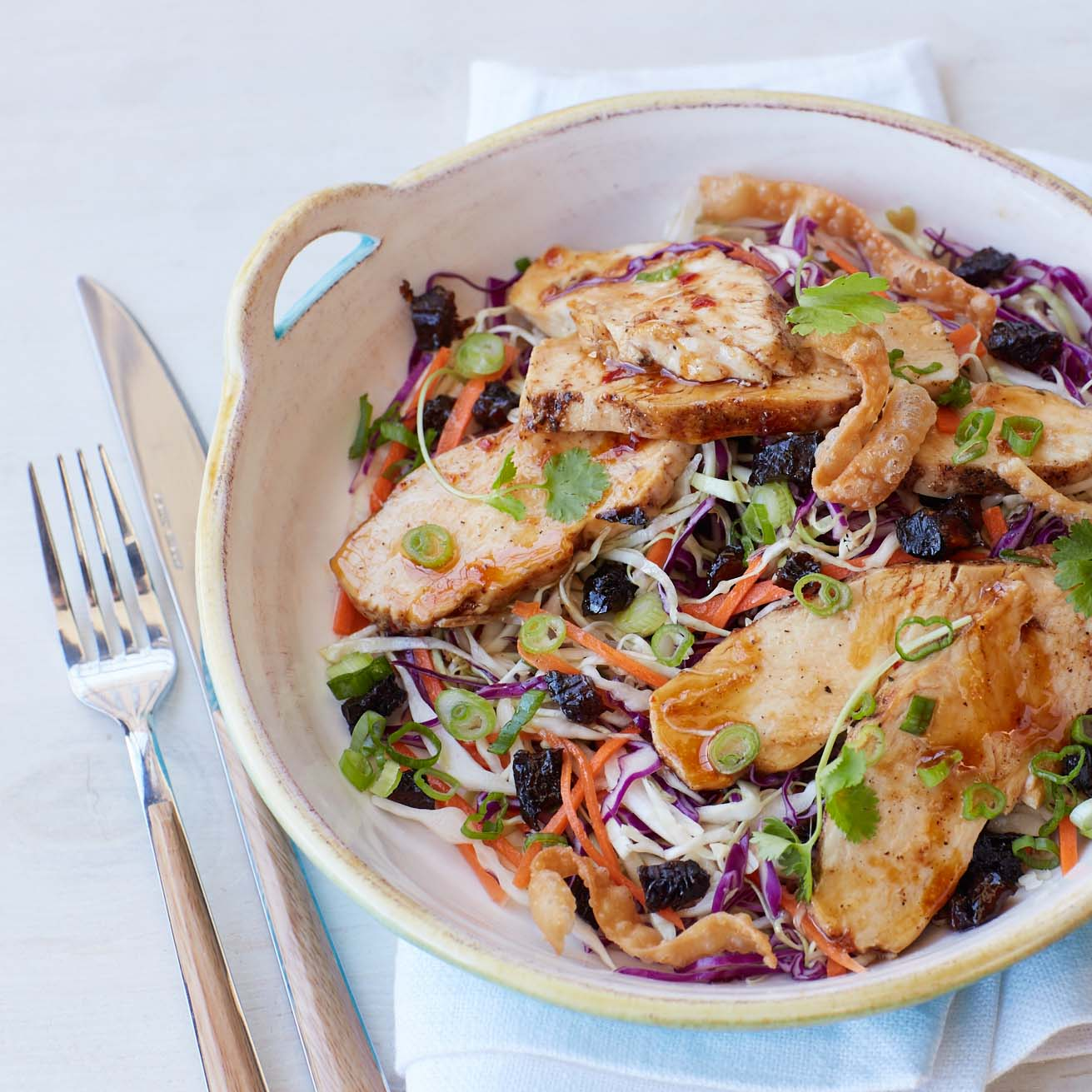 <p>Ginger, soy sauce, diced prunes, and five-spice seasoning come together seamlessly for an update on a classic Chinese chicken salad. Make it gluten-free by leaving out the wonton strips and opting for tamari instead of soy sauce.</p>