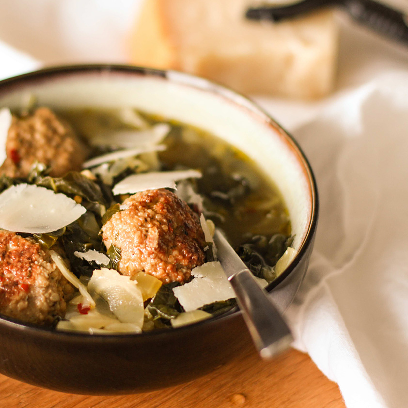 <p>Another way to serve the Roasted Chicken Meatballs made with Dried Plum Puree is to add them to a classic minestra maritata, Italian wedding soup filled with greens.</p>