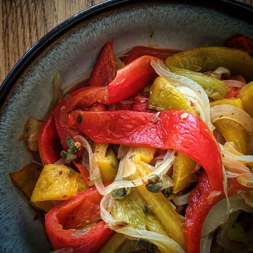 <p>Served with chicken meatballs or used as a sandwich topping, roasted peppers dress up a meal. To brighten flavors and extend the refrigerated shelf life, add a small amount of Fresh Plum Concentrate.</p>