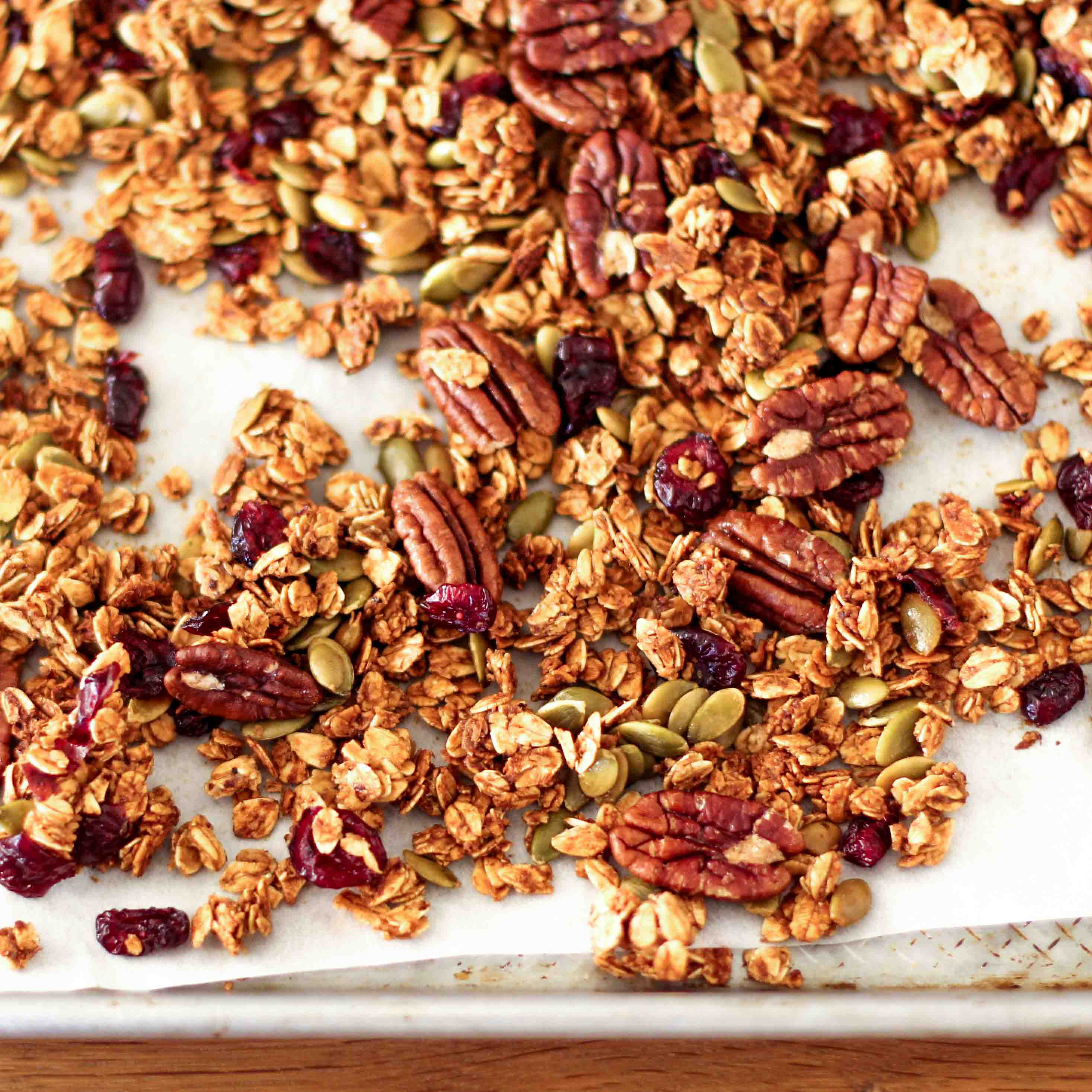 <p>This recipe bakes oats at a low oven temperature with prune juice concentrate in place of oil. The result is a granola so crunchy and caramelized that no one misses the extra fat.</p>
