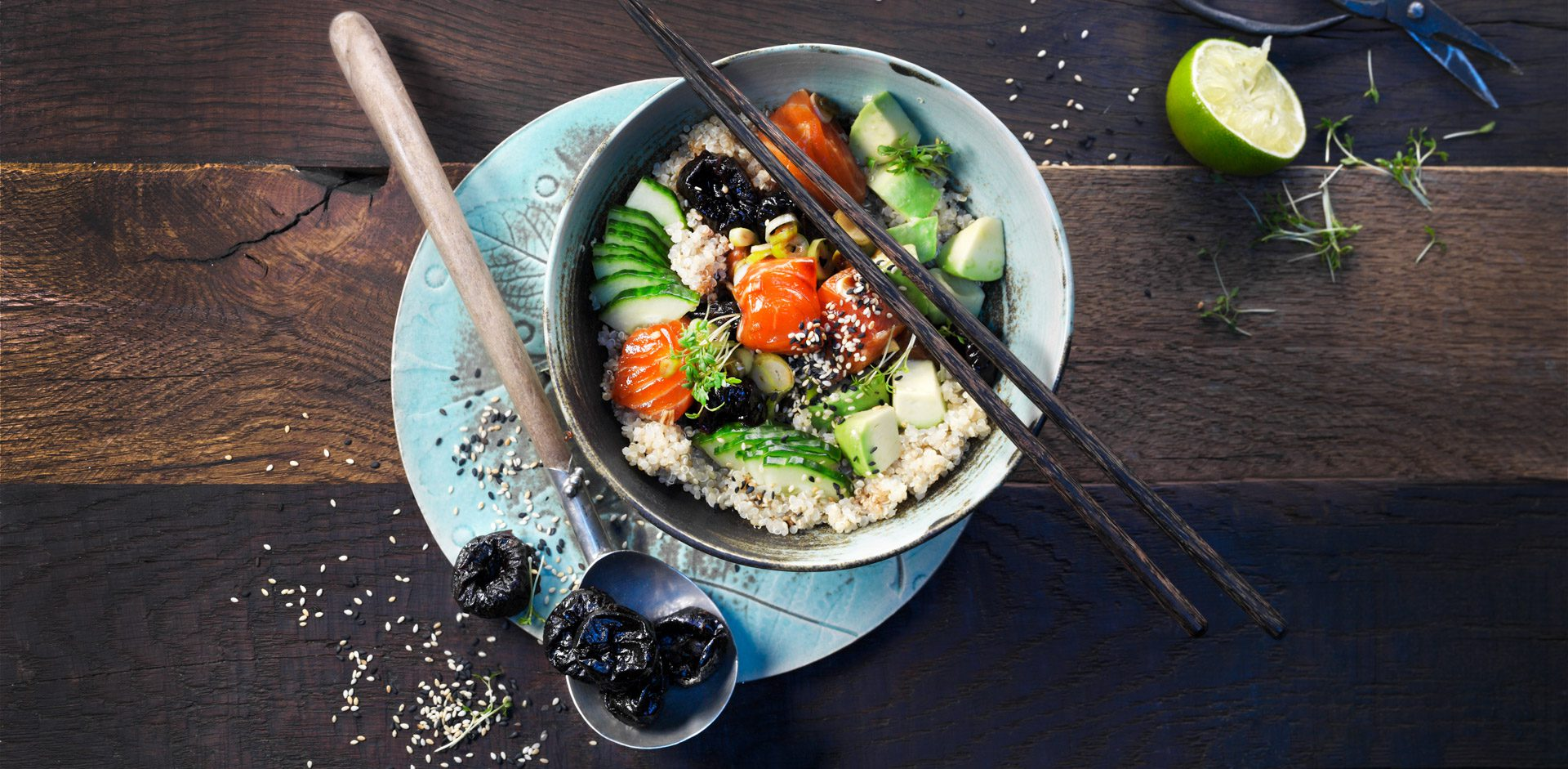 When mixed with soy sauce, prunes lend complimentary sweetness in place of sugar. In this poke bowl, the flavors of soy sauce and sesame come to life with bits of sweet prunes and peppery greens