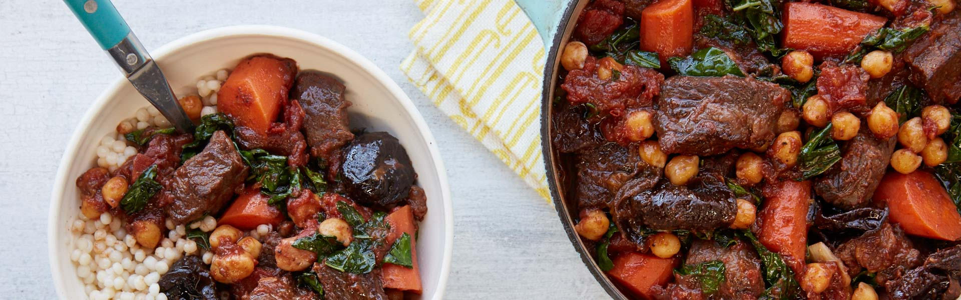 <p>Dried Plums, garam masala, and cinnamon add spice  to beef stew while chickpeas and kale balance the richness and make it a complete meal.</p>