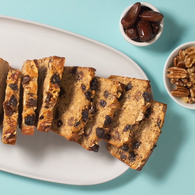 <p>Prunes, dates, and nuts make this quickbread a sweet treat packed with fiber and tangy sweetness from the dried fruit.</p>