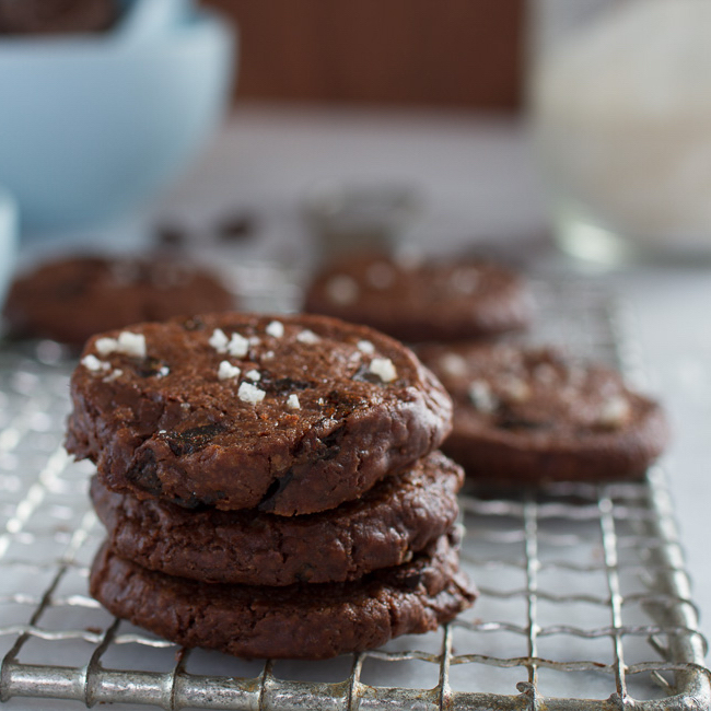 <p>These cookies are all about bittersweet chocolate, diced prunes, and cocoa powder. A sprinkle of sea salt on top draws out the prunes and chocolate even more.</p>