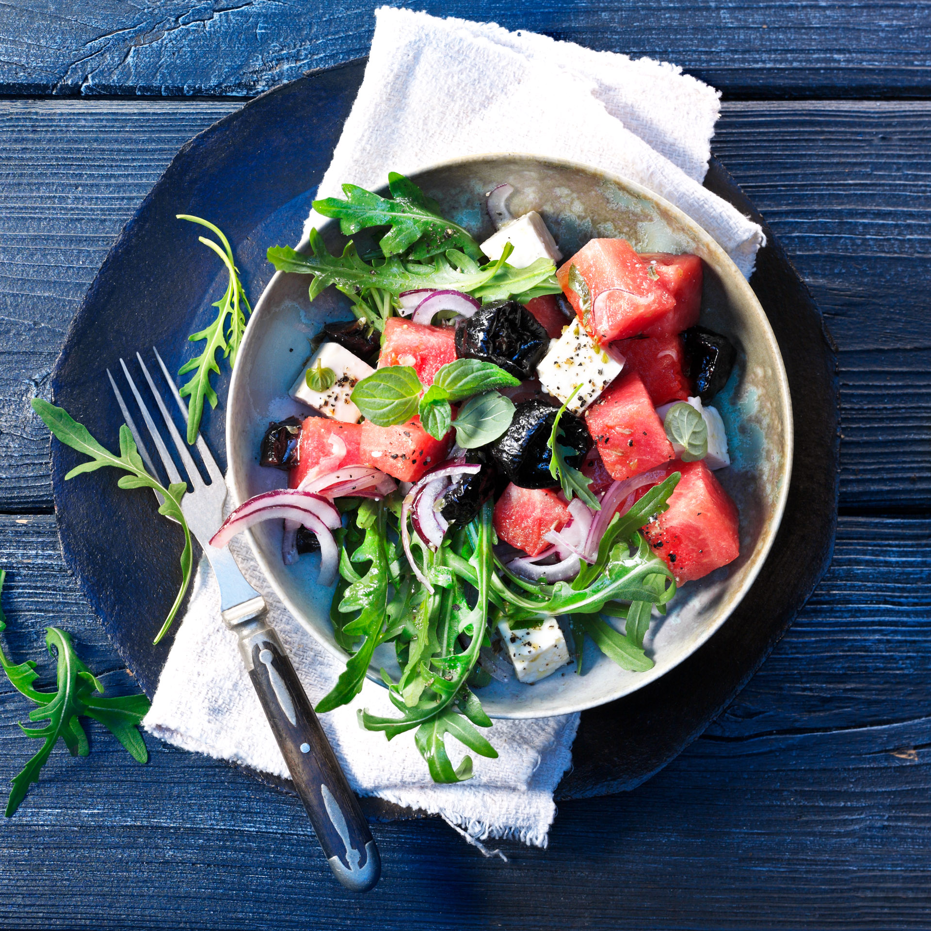 <p>Sweet, juicy watermelon with salty, tangy feta makes for a perfect salad. For added texture and mild sweetness, add in a handful of Diced Prunes. For a rounder flavor in the salad dressing, mix in a teaspoon of Fresh Plum Concentrate. 322 kcal (1347 kJ); protein 9.8 g; fat 22.5 g; carbohydrates 19.3 g</p>