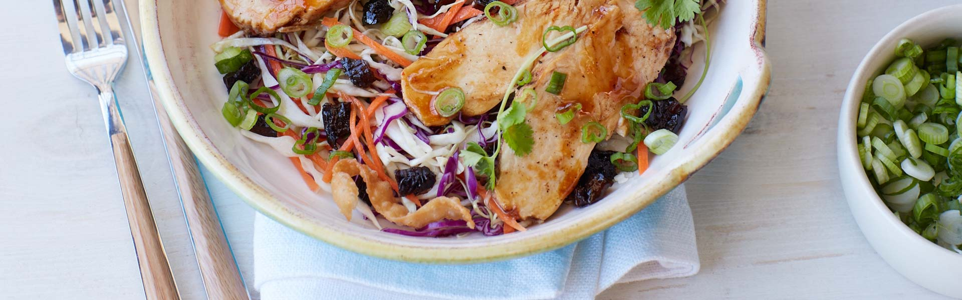 <p>Ginger, soy sauce, diced prunes, and five-spice seasoning come together seamlessly for an update on a classic Chinese chicken salad.</p>