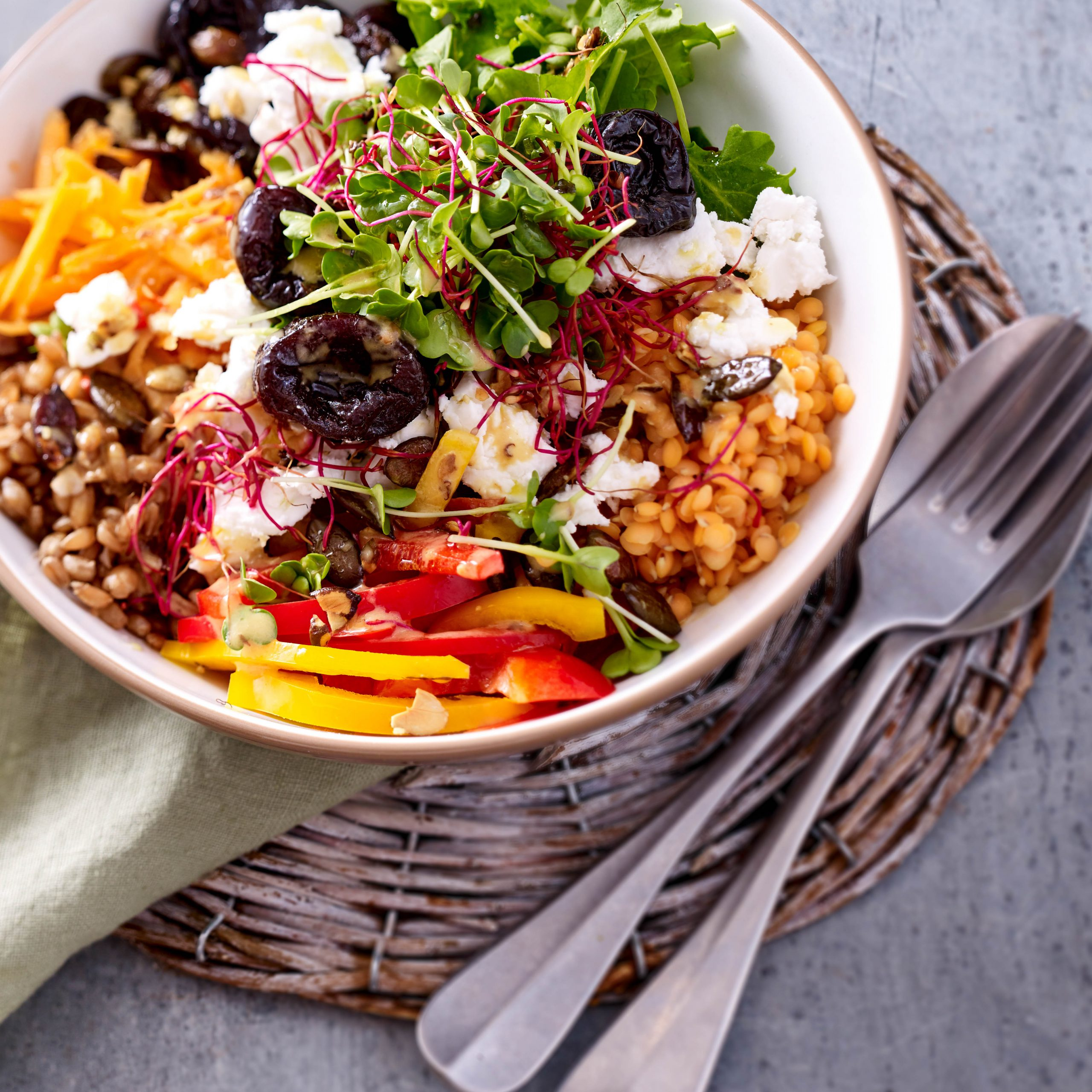 <p>Using prunes in salad dressing adds sweetness and tangy balsamic note without any added sugar in this healthy grain salad.</p>