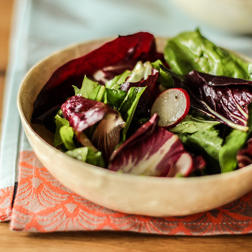 <p>Assertive greens, like radicchio and arugula, stand up to garlic-infused balsamic vinaigrette. Meanwhile, the sweetness of the Prune Juice Concentrate in the vinaigrette helps balance the bitterness of the greens.</p>